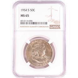 1954-S Franklin Half Dollar Coin NGC MS65