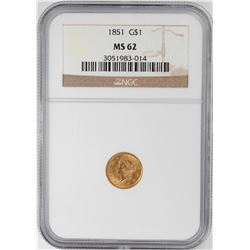 1851 $1 Liberty Head Gold Dollar Coin NGC MS62