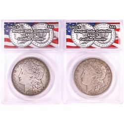 Lot of 1921-S & 1921-D $1 Morgan Silver Dollar Coins ANACS Genuine