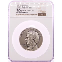 1967 William H. Seward Alaska Purchase 200th Silver 64mm Medal NGC MS66