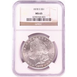 1878-S $1 Morgan Silver Dollar Coin NGC MS65