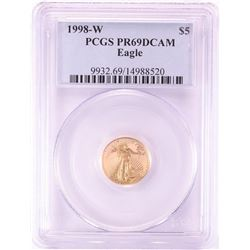 1998-W $5 Proof American Gold Eagle Coin PCGS PR69DCAM