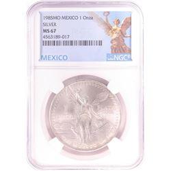 1985Mo Mexico 1 Onza Libertad Silver Coin NGC MS67