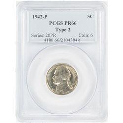 1942-P Type 2 Proof Jefferson Nickel Coin PCGS PR66