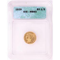 1929 $2 1/2 Indian Head Quarter Eagle Gold Coin ICG MS63