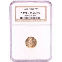1988-P $5 Proof American Gold Eagle Coin NGC PF69 Ultra Cameo