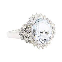 14KT White Gold 7.00 ctw Aquamarine and Diamond Ring