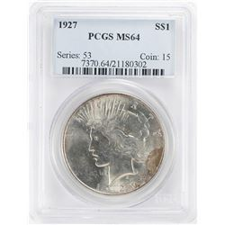 1927 $1 Peace Silver Dollar Coin PCGS MS64