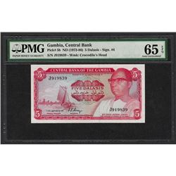 1972-86 Central Bank Gambia 5 Dalasis Note Pick# 5b PMG Gem Uncirculated 65EPQ