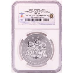 2009 Canada $5 Maple Leaf Vancouver Olympics Silver Coin NGC MS69