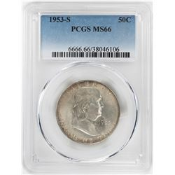 1953-S Franklin Half Dollar Coin PCGS MS66