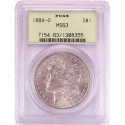 1884-O $1 Morgan Silver Dollar Coin PCGS MS63 Old Green Holder