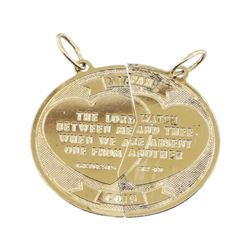 Mizpah Coin Pendant - 14KT Yellow Gold