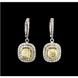 4.08 ctw Fancy Yellow Diamond Earrings - 14KT White and Yellow Gold
