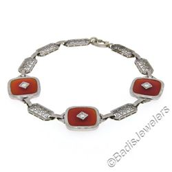 Antique Art Deco 14kt White Gold Carnelian and Diamond Etched Filigree Bracelet