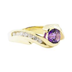 1.50 ctw Amethyst and Diamond Ring - 14KT Yellow Gold