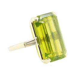 29.90 ctw Emerald Cut Step Peridot And Diamond Ring - 14KT Yellow Gold