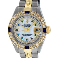 Rolex Ladies 2 Tone Yellow Gold MOP Sapphire String Diamond Datejust Wriswatch