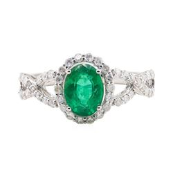 1.26 ctw Emerald and Diamond Ring - 18KT White Gold