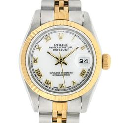 Rolex Ladies 2 Tone Yellow Gold White Roman 26MM Datejust Wristwatch