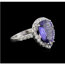4.81 ctw Tanzanite and Diamond Ring - 14KT White Gold