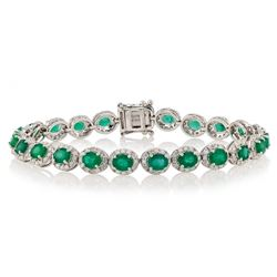 7.64 ctw Emerald and 2.63 ctw Diamond 14K White Gold Bracelet