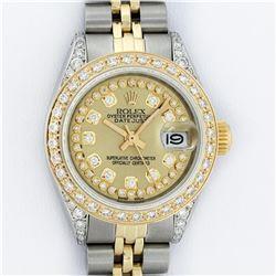 Rolex Ladies 2 Tone Yellow Gold Champagne Diamond Lugs Datejust Wristwatch