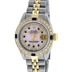 Rolex Ladies 2 Tone Yellow Gold Pink MOP Diamond & Sapphire String Datejust Wris