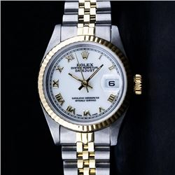 Rolex Ladies 2 Tone Yellow Gold Yellow Gold & Stainless Steel White Roman 26MM D