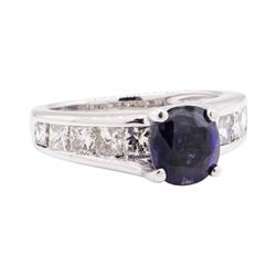 3.00 ctw Synthetic Sapphire And Diamond Ring - 14KT White Gold
