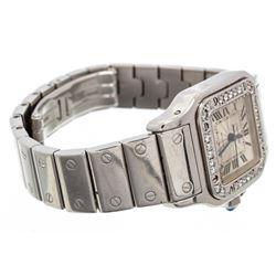 Cartier Stainless Steel White Sapphire Santos Galbee Watch