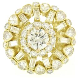 GIA Cert 18K Yellow Gold 5.56 ctw Round & Baguette Diamond Waterfall Cluster Rin