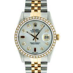 Rolex Mens 2 Tone 14K Mother Of Pearl Diamond 36MM Datejust Wristwatch