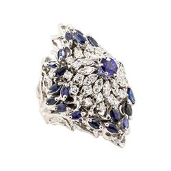 5.07 ctw Blue Sapphire Ring - 14KT White Gold