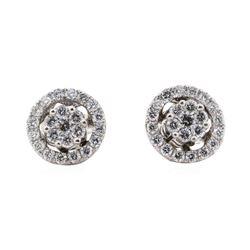 0.59 ctw Diamond Earrings With Earring Jackets - 14KT White Gold
