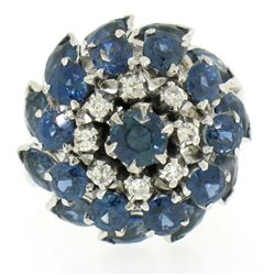 14k White Gold 3.56 ctw Tiered Round Marquise Sapphire Old Diamond Ring
