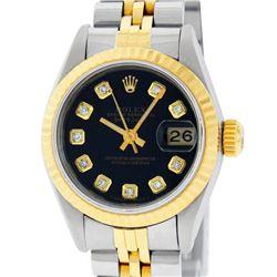 Rolex Ladies 2 Tone Yellow Gold Black Diamond 26MM Datejust Wristwatch