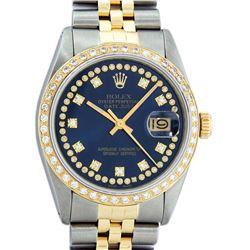 Rolex Mens 2 Tone 14K Blue String VS Diamond Datejust Wristwatch