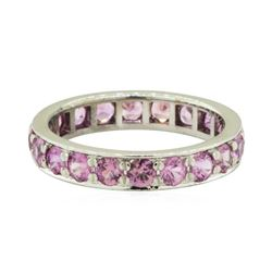 3.00 ctw Pink Sapphire Eternity Ring - 14KT White Gold