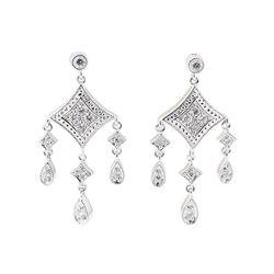 0.25 ctw Diamond Dangle Earrings - 14KT White Gold