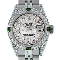 Rolex Ladies Stainless Steel Diamond Lugs MOP String Diamond Datejust Wristwatch