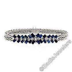 Vintage 14kt White Gold 3.45 ctw Sapphire and Diamond Cluster Bracelet