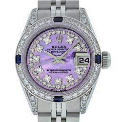 Rolex Ladies Stainless Steel Quickset Purple MOP Diamond Lugs Datejust Wristwatc