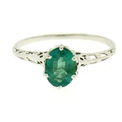 14k White Gold 1.38 ctw Prong Set Oval Cut Emerald Filigree Solitaire Ring