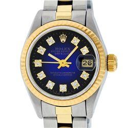 Rolex Ladies 2 Tone Yellow Gold Blue Vignette Diamond Datejust Wristwatch