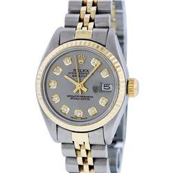 Rolex Ladies 2 Tone Yellow Gold Slate Grey Diamond 26MM Datejust Wristwatch