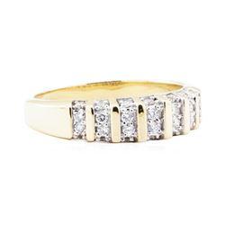 0.56 ctw Diamond Beveled Edge Band - 14KT Yellow Gold