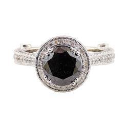 2.40 ctw Black Diamond and Diamond Ring - 14KT White Gold