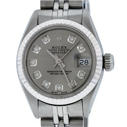 Rolex Ladies Stainless Steel Slate Grey Diamond 26MM Datejust Wristwatch