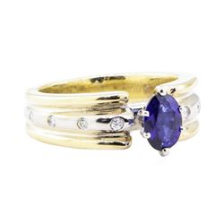 1.28 ctw Sapphire and Diamond Ring - 14KT Yellow and White Gold